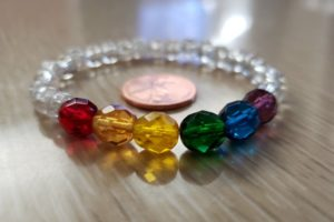 PRIDE bracelet with Faceted Color Beads
